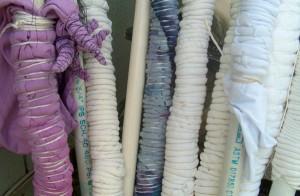 cloth tied for shibori arashi dye technique