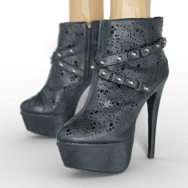 Vintage Heels Black Leather