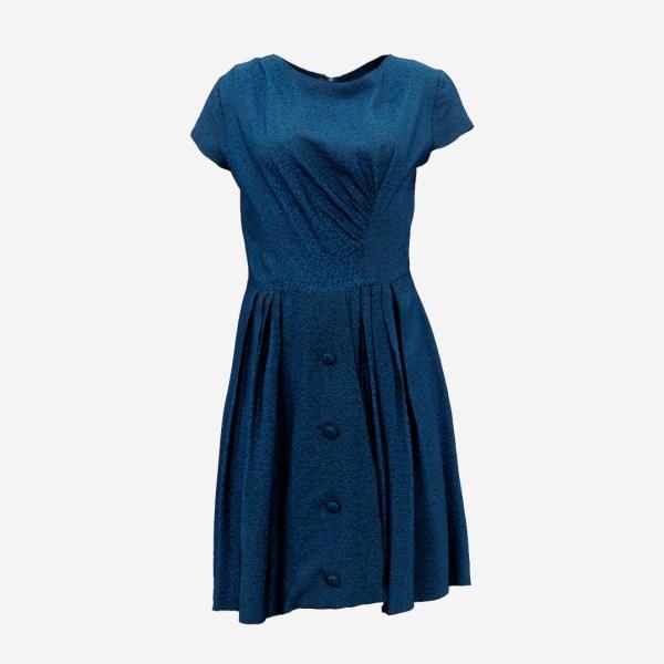 Blue Speckled Button Dress