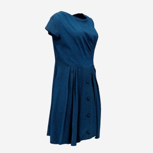 Blue Speckled Button Dress