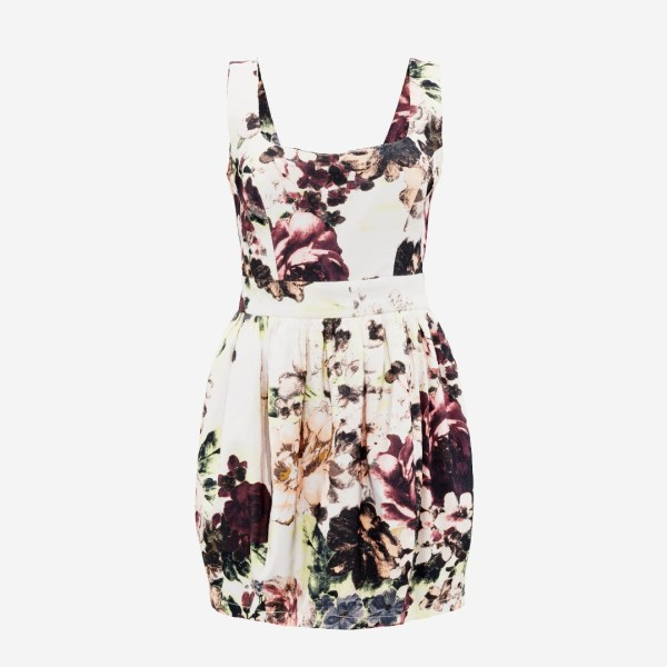 Flower Pattern Mini Dress