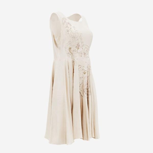 Pearl Decorated Beige Dress