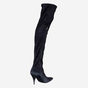Kneehigh Black Velvet Boots