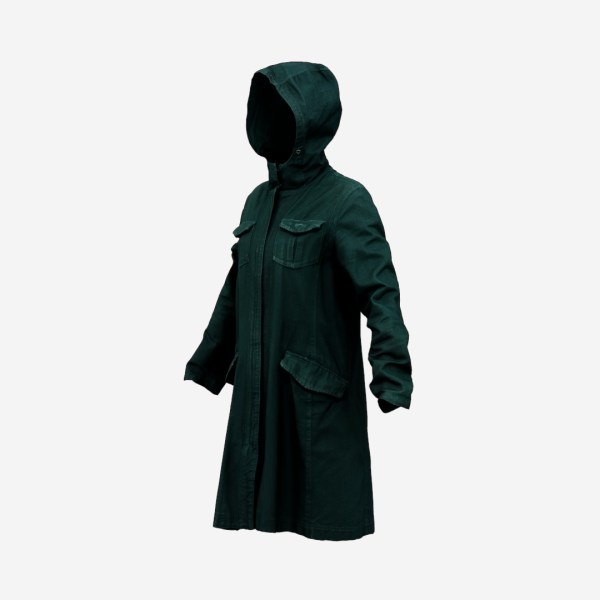 Long Green Coat Hoodie