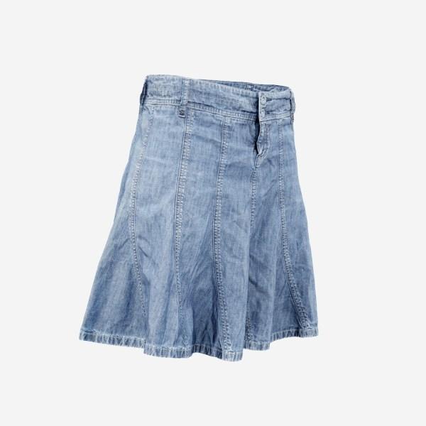 Plaid Jeans Skirt Long