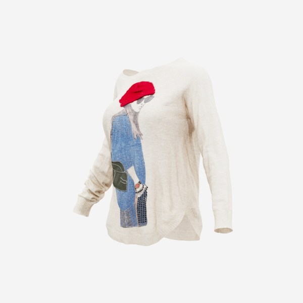 Beige Pull Woman Decoration Red Hat