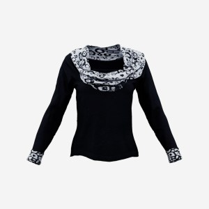 Dark Blue Scarf Neck Pull Top