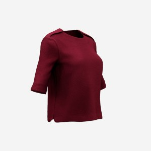 Red Zipper Shoulder Pad Top
