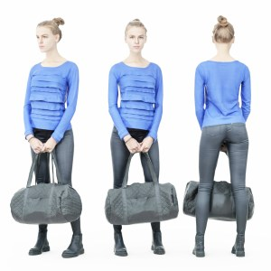 Blue Dress Girl in Leather Pants Holding Sportsbag