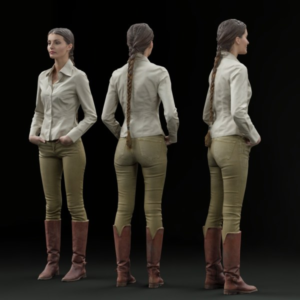 Braid Girl in Brown Leather Boots and White Shirt