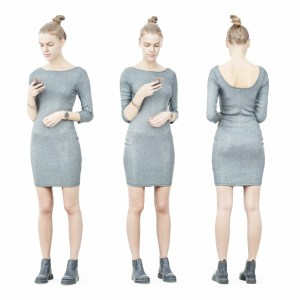 Girl in Grey Dress Texting