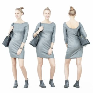 Girl in Grey Dress with Handbag on Shoulder