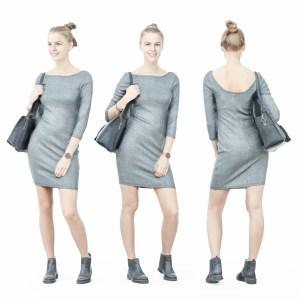 Girl in Grey Dress with Handbag on Shoulder