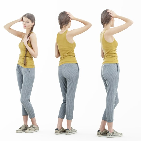 Girl in Grey Pants and Yellow Top Posing Hand on Head