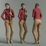 Girl in Red Leather Jacket and Brown Pants