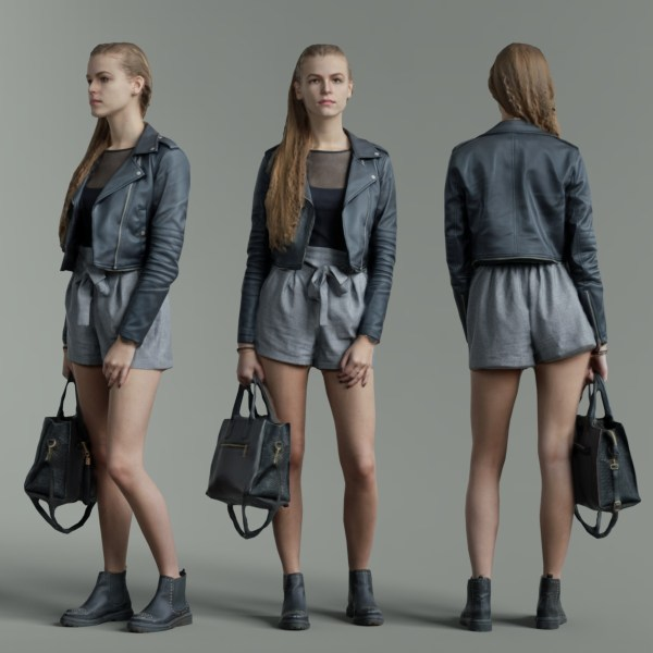 Long Hair Girl in Leather Jacket Holding Handbag