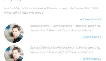Testimonials Slider hiển thị ý kiến khách hàng dạng danh sách