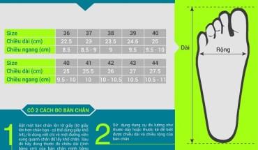 Bảng tính size giày dép (tham khảo)