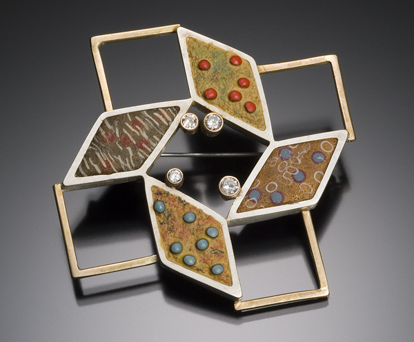 Steven Ford and David Forlano, Diamond Pin #6, 2006 18k gold, sterling, polymer clay, diamonds