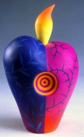 "Jeffrey Lloyd Dever, Love Bottle, 1998, 9 1/8"" x 5 1/2"" x 3 5/8"", polymer, collection of Racine Art Museum"
