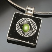 Judy Belcher, Twirl Pendant, 2008, polymer, sterling silver
