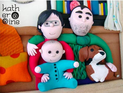 family portrait in polymer clay