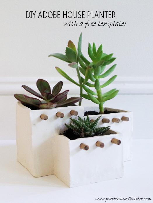 Mini adobe house planters polymer clay for Diy adobe house