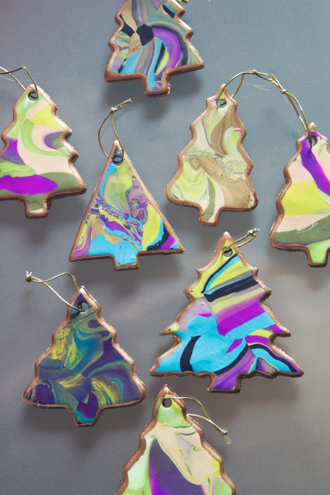 Marbled Tree Ornaments