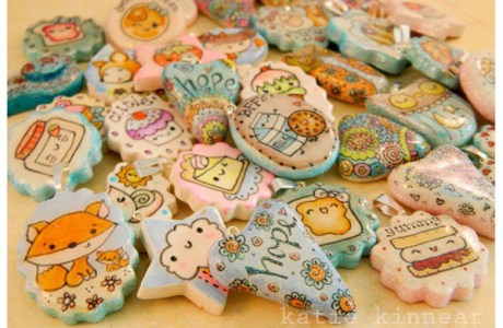 Polymer Clay Doodle Pendants