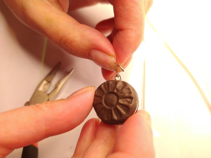 4 Polymer clay charms 'Chocolate Cookies', tutorial on polymer clay