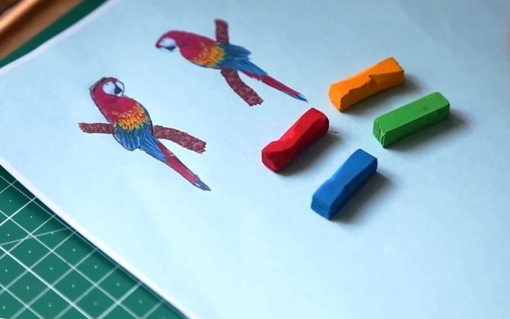 3 Polymer clay earrings: Parrots