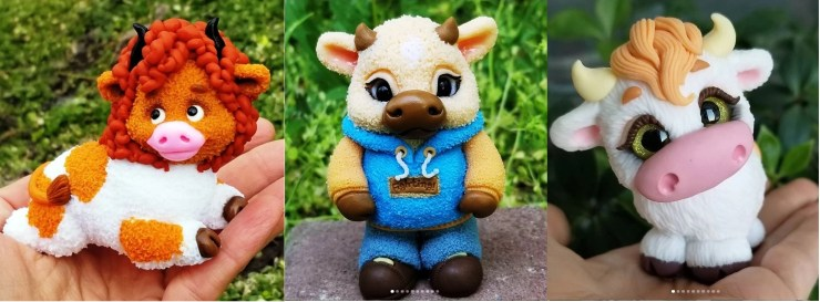 Polymer clay figurines bulls