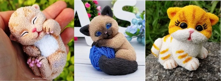 Polymer clay figurines cats