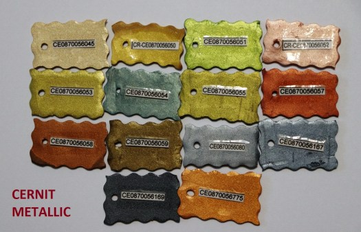 Photo of polymer clay CERNIT of the METALLIC series in baked form