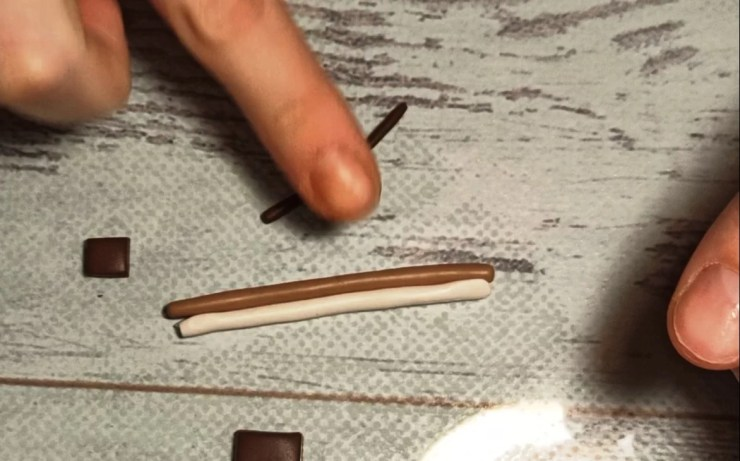 4. Polymer clay chocolate wafer straws, photo tutorial on sculpting