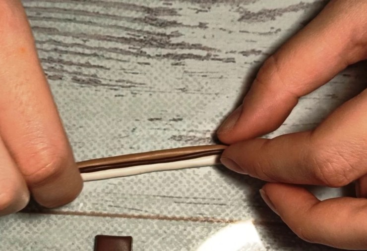 5. Polymer clay chocolate wafer straws, photo tutorial on sculpting