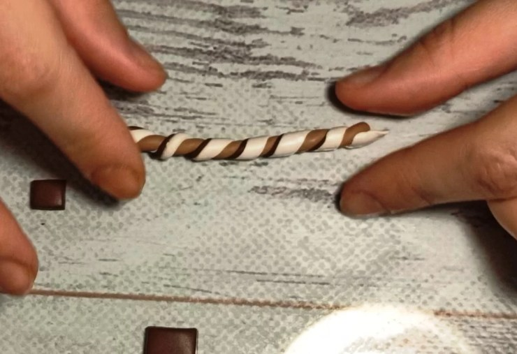 8. Polymer clay chocolate wafer straws, photo tutorial on sculpting