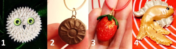 1-4 Polymer clay charms - brooch, tutorial on modeling.