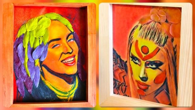 3D volumetric Portrait Billie Eilish & Portrait of Lady Gaga from polymer clay