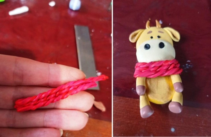 18 Photo tutorial. Polymer clay mug decor: Teddy bear with bull