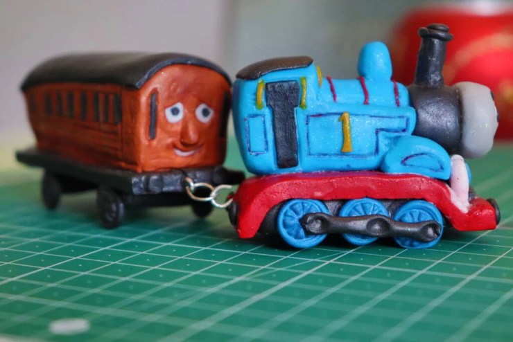 Polymer clay Thomas the engine and Annie's wagon I jewelry pins