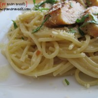 garlic brown butter pasta with roasted chicken