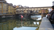 Ponte Vecchio with red and white pennant.