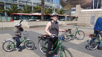 "N. says ""Yes"" to biking along La Barcoleneta."