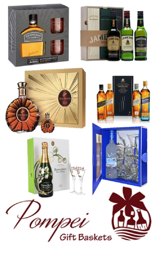 Whiskey, vodka, and champagne bottles offered by Pompei Gift Baskets in Hackensack, NJ