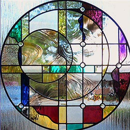 Geo Circles Stained Glass Window