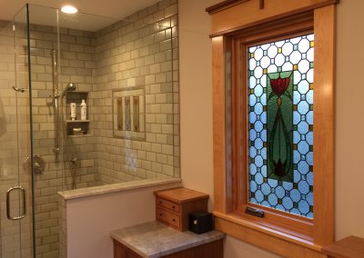 Bathroom privacy stained glass