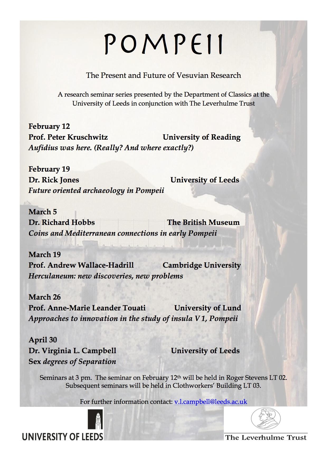 Research Seminar Series Pompeii The Present And Future