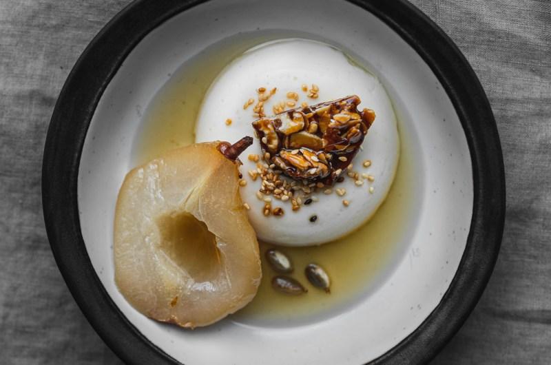 Crème Fraîche Panna Cotta with Poached Pears & Sesame Brittle