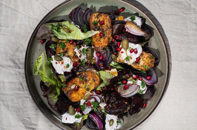 Za'atar Crusted Haloumi & Onion Salad